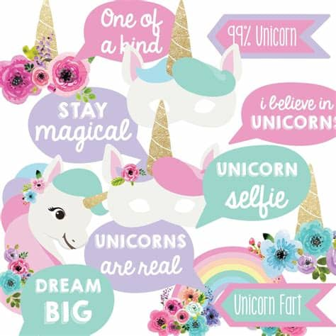 To get more templates about posters,flyers,brochures,card,mockup,logo,video,sound,ppt,word,please visit pikbest.com. Unicorn Birthday Party Photo Booth Props   Unicorn Party ...