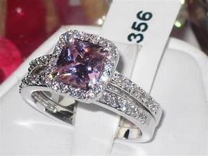 Diamond and pink sapphire engagement ring womens pcs pink for Pink diamond wedding rings