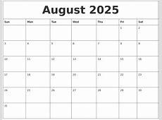 August 2025 Print Blank Calendar