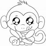 Coloring Monkey Pages Cartoon sketch template