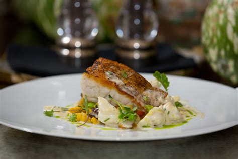 grouper gulf roasted fish pan foret seared yellow recipes le succotash fin vegetable corn gonola recipe choux crab maque shell