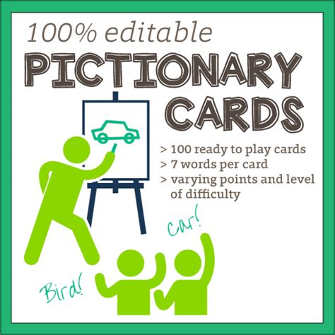 Pictionary Word Cards 100 Editable