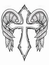 Cross Wings Tattoo sketch template