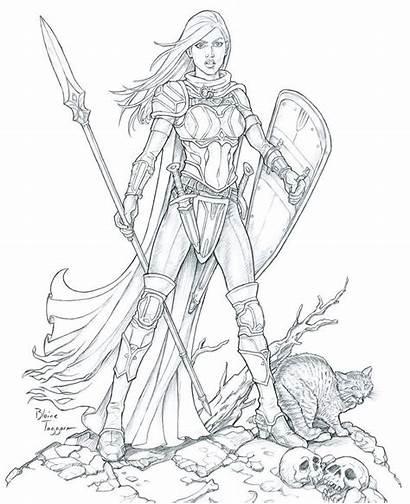 Female Paladin Warrior Coloring Drawing Deviantart Line