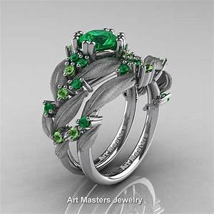 Nature classic 14k white gold 10 ct emerald green topaz for Emerald green wedding ring
