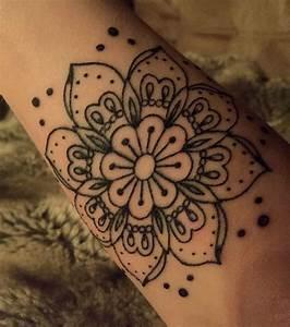 New forearm tattoo - henna inspired lotus flower mandala ...