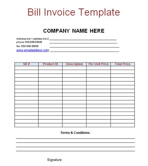 billing invoice template word invoice sample template