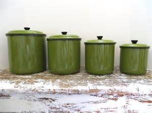kitchen canister sets vintage vintage green enamel canister set metal by