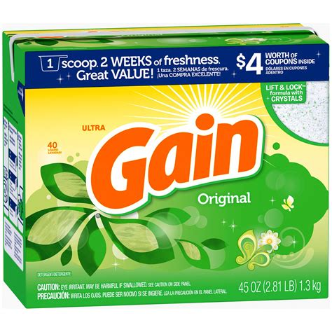 61587 Washing Powder Coupons by Gain Powder Laundry Detergent Original 40 Loads 45 Oz