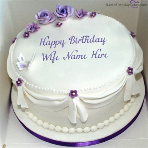 write   voilet roses birthday cake  wife happy