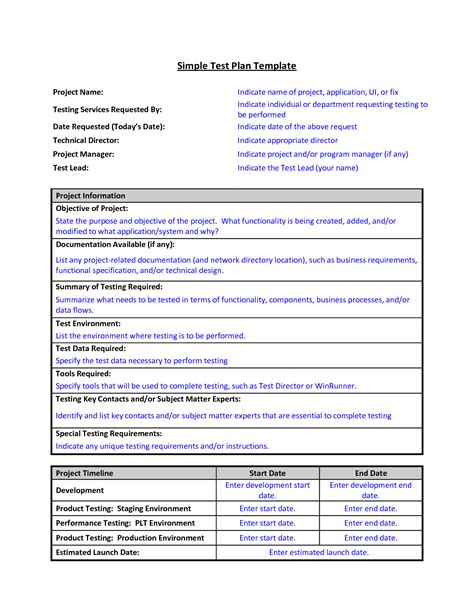 simple test plan template sle test plan