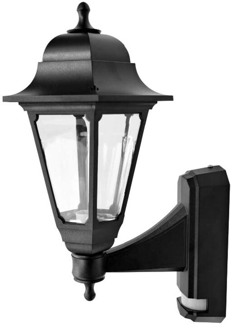 asd coach 100w black lantern wall light pir included asd cl bk100p coach lantern with pir sensor black