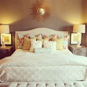 Your layout with white bedding and colorful pillows and an for Colorful pillows for bed