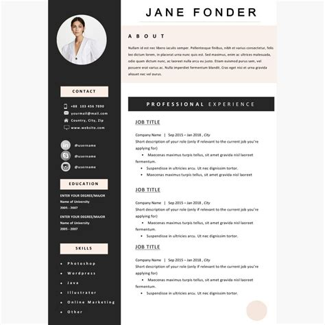 creative resume template templates  college students