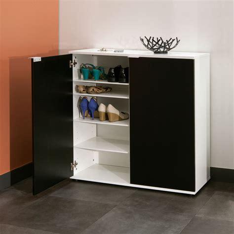 table cuisine modulable symbiosis meuble à chaussures 2 portes blanc noir