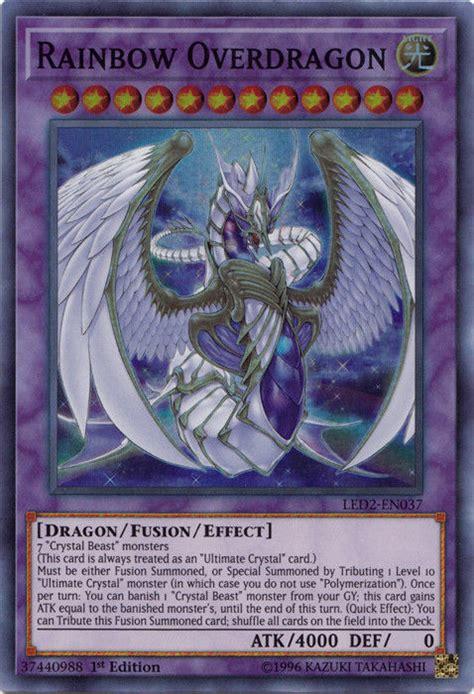 rainbow overdragon dragon yugioh yu gi oh led2 card ancient cards duel links crystal archetypes en037 rare 1st edition super
