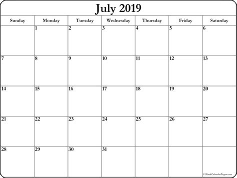 july  blank calendar collection
