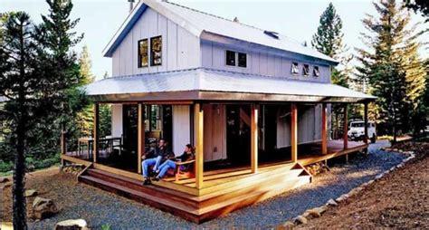 relaxing metal building cabin  wrap  porch  plans