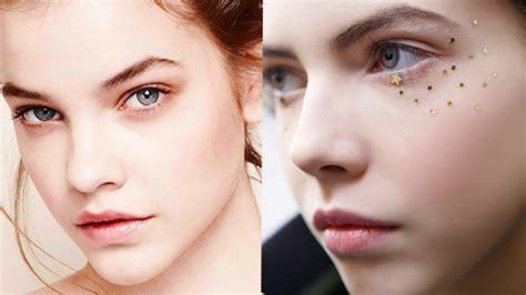 Модный макияж фото главных тенденций весналето 2018 . Vogue Russia . Вороные стрелки мокрые губы хайлайтер под глаза и стразыслезы