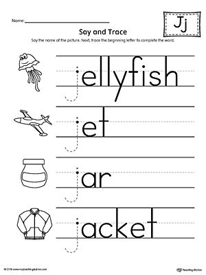 say and trace letter j beginning sound words worksheet 762 | Letter J Beginning Sound Words Say and Trace Worksheet