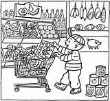 Coloring Grocery Pages Market Printable Kleurplaat Colouring Supermarket Shopping Sheets Supermarkt Thema Getcolorings Kleurplaten Getdrawings Shops Boodschappen Doen Books Pet sketch template