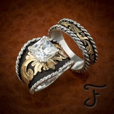 buckle western inspired wedding band set ring cowboy