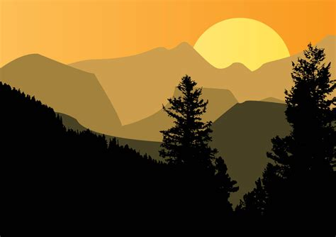 mountain sunset vector art graphics freevectorcom