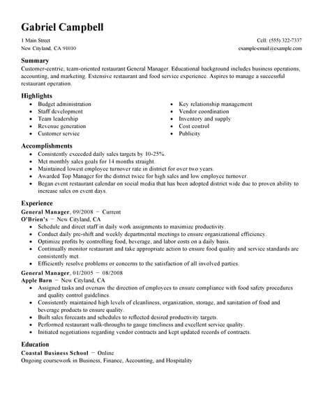Sle Restaurant Manager Resume by Best Restaurant Bar General Manager Resume Exle From