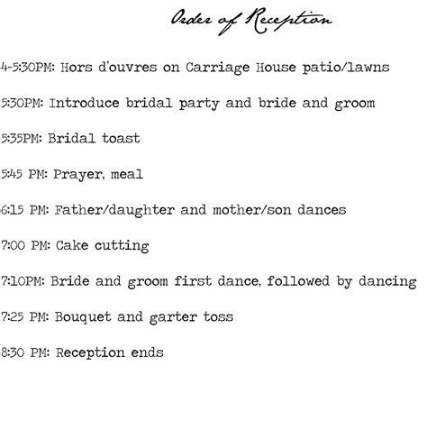 wedding program reception timeline filesxtra