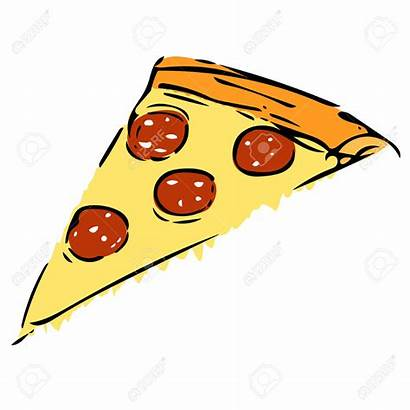 Pizza Slice Drawing Vector Cheese Salami Clipart