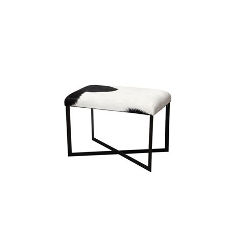 Black And White Stool by Anouk Goat Skin Stool Black And White Ottomans And