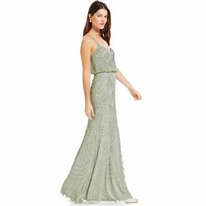 adrianna papell sleeveless beaded blouson gown in green With adrianna papell wedding dresses
