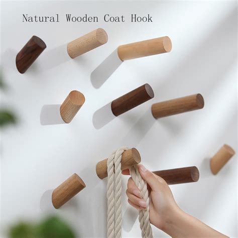 These wall mounted hooks are built to support heavy loads. Decorative Natural Wooden Coat Hook Wall mounted Hooks DIY wooden Hanger Wall Decoration Scarf ...