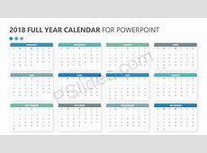 2018 Full Year Calendar for PowerPoint Pslides