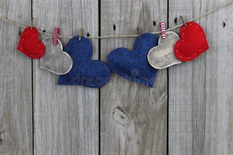 red blue  wood country hearts hanging  clothesline