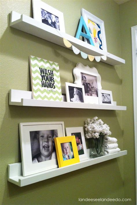 bathroom ledges display kids artwork shelves