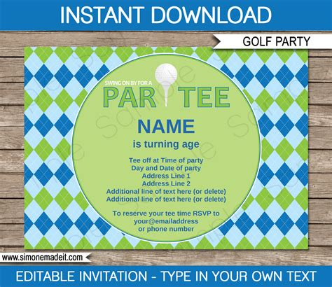 golf party invitations template blue green christmas