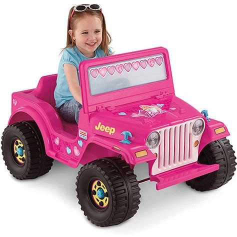 power wheels jeep barbie fisher price power wheels girls barbie jeep 6 volt