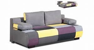 deco in paris canape 3 places convertible en tissu jaune With tapis jaune avec canapé convertible couchage