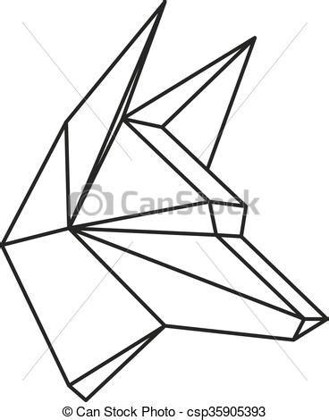 geometrique vecteur loup  tatouage tete
