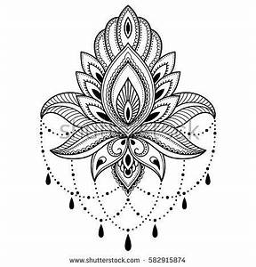 Henna tattoo flower template in Indian style. Ethnic ...