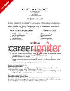 project manager resume template project management resume sle sle resumes