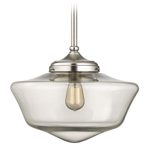 schoolhouse pendant light 16 inch satin nickel clear glass schoolhouse pendant light