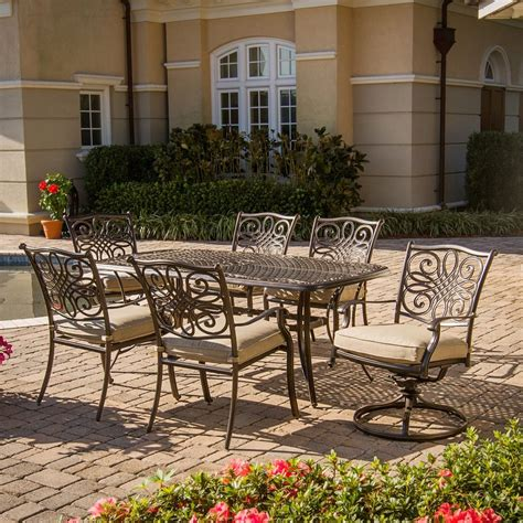 Metal Outdoor Patio Furniture by Shop Hanover Outdoor Furniture Traditions 7 Bronze