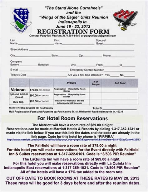 printable family reunion registration forms party