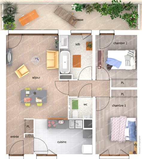 brise vue cuisine perspectives 3d pour la publicité des promoteurs immobiliers