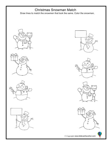 snowman match worksheet aa preschool