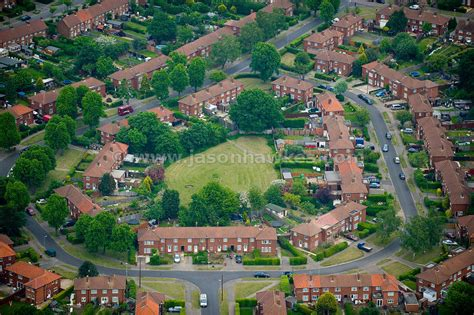 aerial view houses welwyn garden city hertfordshire