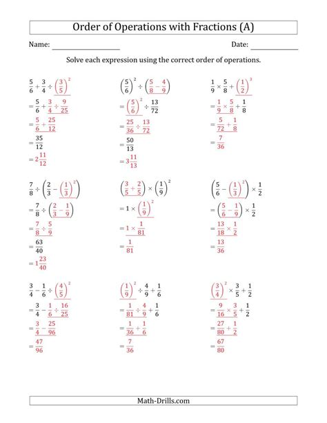 order of operations with positive fractions three steps a