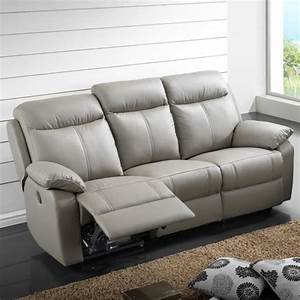 canape relax electrique 3 places cuir vyctoire achat With achat canapé relax